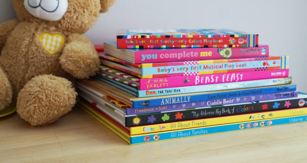 A stack of children's books
