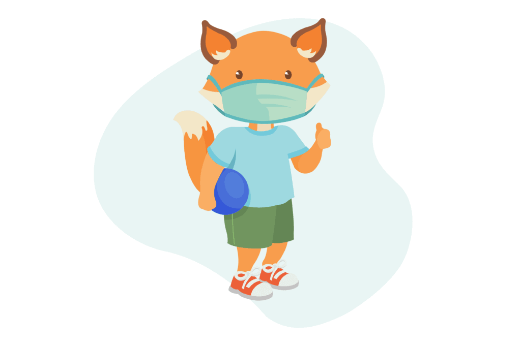 Illustration of a fox wearing a blue t-shirt, green shorts, red shoes and a cloth face mask. He is holding a blue ball under one arm and giving a thumb's up with the other.